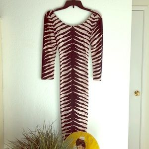Tiger Striped Diva Bodycon Dress, Size M